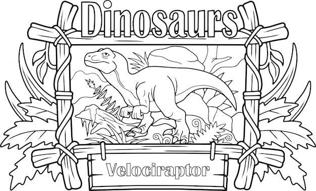 Dinosaurier velociraptor Premium Vektoren