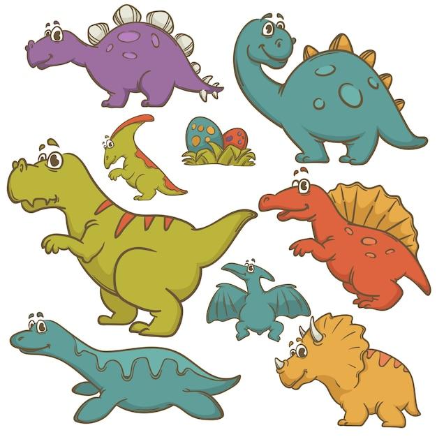 Dinosaurierkarikatur-sammlung gesetzte vektor-illustration Premium Vektoren