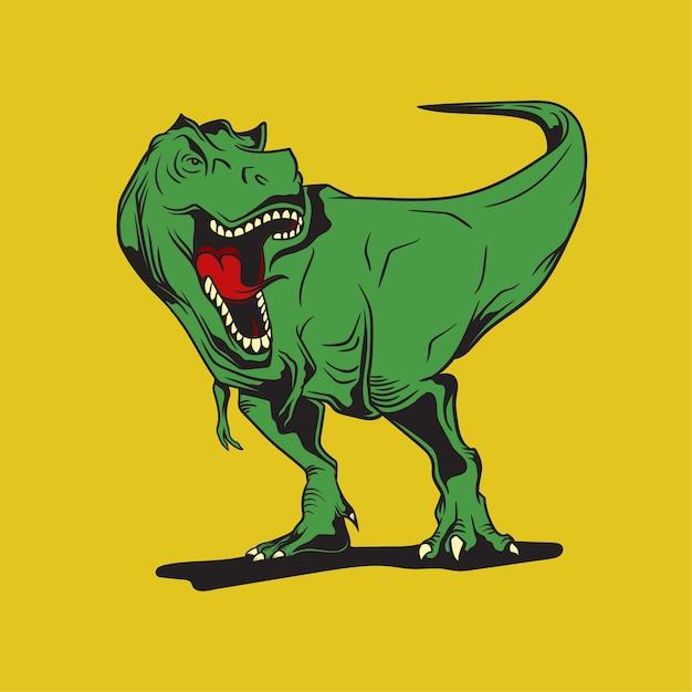 Dinosaurus-maskottchenhand gezeichnet Premium Vektoren