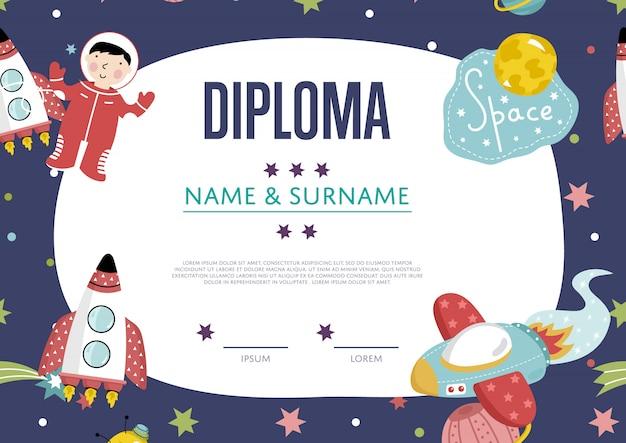 Diplom-cartoon-vorlage Premium Vektoren