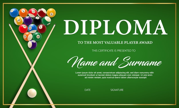 Diplom für den gewinner des billardturniers, zertifikatvorlage mit queue und bällen auf grünem stoff. Premium Vektoren