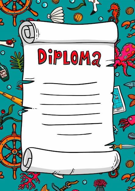 Diplom im seestil. vorlage. scrollen sie in einem handgezeichneten stil. marine-thema. Premium Vektoren