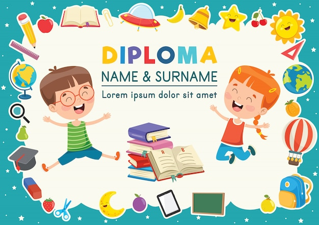 Diplom-vorlage für die kindererziehung Premium Vektoren