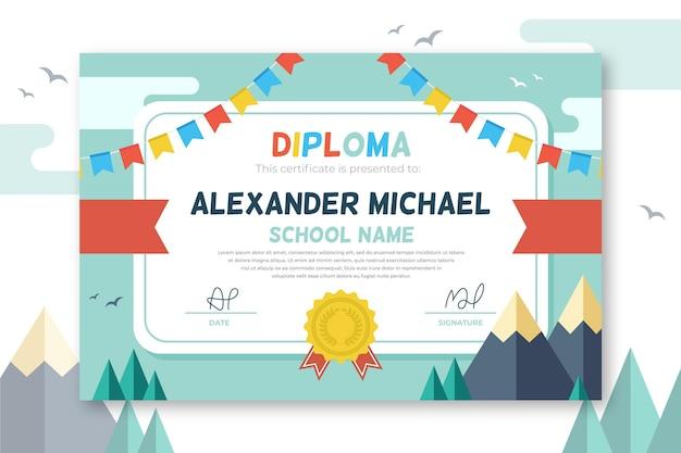 Diplom-vorlagenkonzept für kinder Premium Vektoren