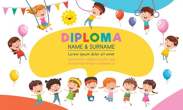 Diplom zertifikat template design für kindererziehung Premium Vektoren