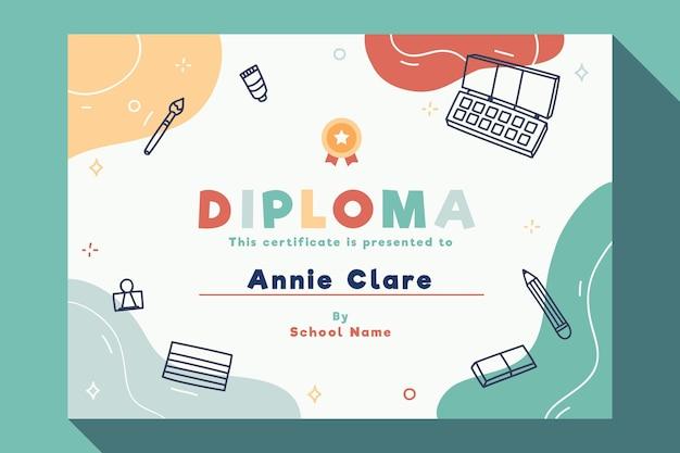 Diplomschablone für kinder mit elementen Premium Vektoren