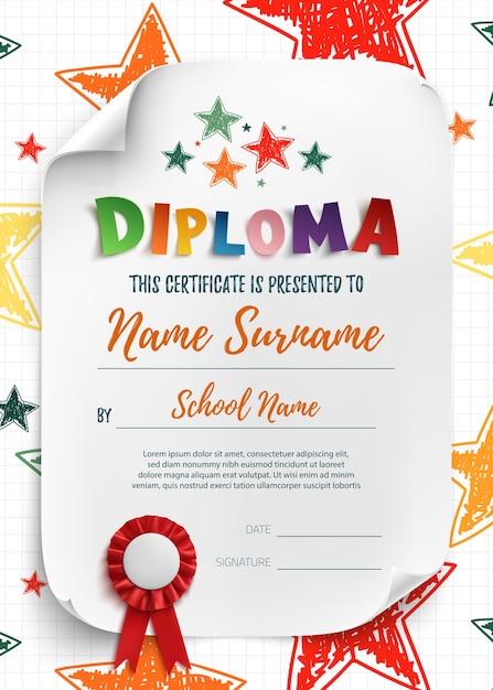 Diplomvorlage für kinder, zertifikathintergrund mit handgezeichneten sternen für schule, vorschule oder kindergarten. Premium Vektoren