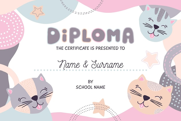 Diplomvorlage für kinder Premium Vektoren