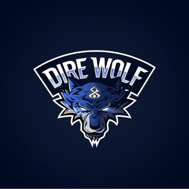 Dire wolf esport logo Premium Vektoren