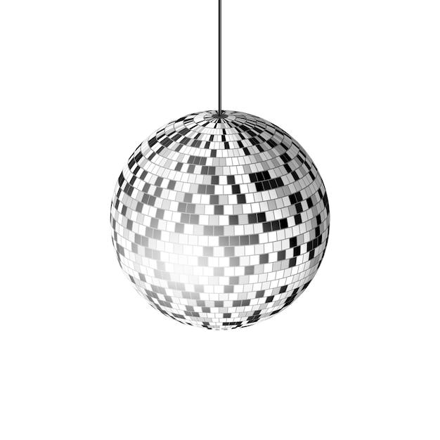 Disco-kugel mit lichtstrahlen auf weißem hintergrund, illustration. Premium Vektoren