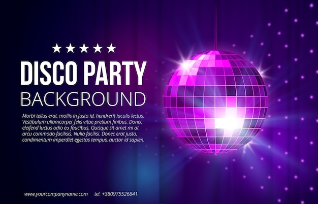 Disco party hintergrund. ball, nachtclub und nachtleben, helle und glänzende kugel, vektorillustration Kostenlosen Vektoren