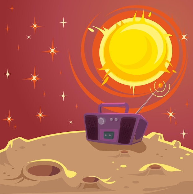 Disco planet. cartoon-illustration Premium Vektoren