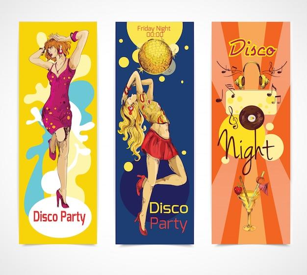 Disco-skizze banner gesetzt Kostenlosen Vektoren