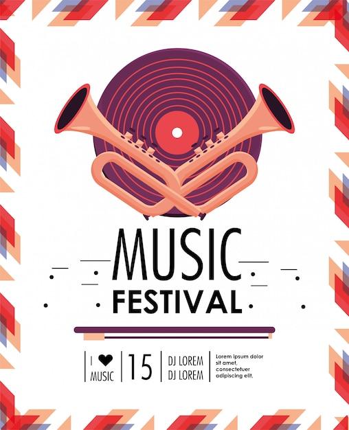 Disco und cornets zur musikfestivalfeier Premium Vektoren