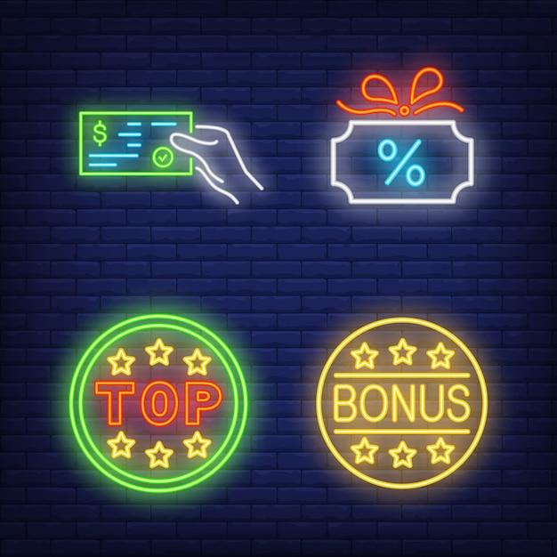 Discount neon sign set. leuchtende geschenkkarte Kostenlosen Vektoren