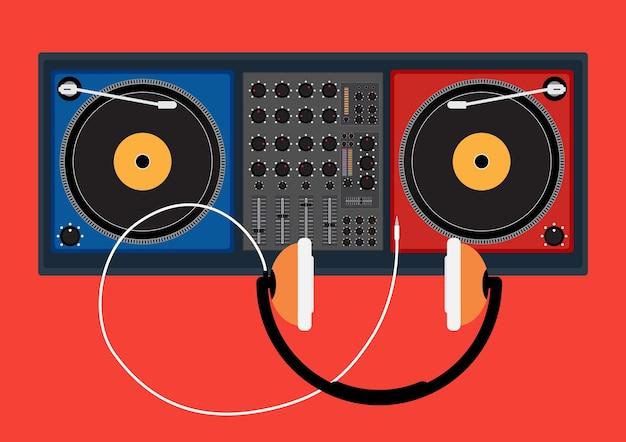 Diskjockeyspieler und haupttelefon für dj-musik Premium Vektoren