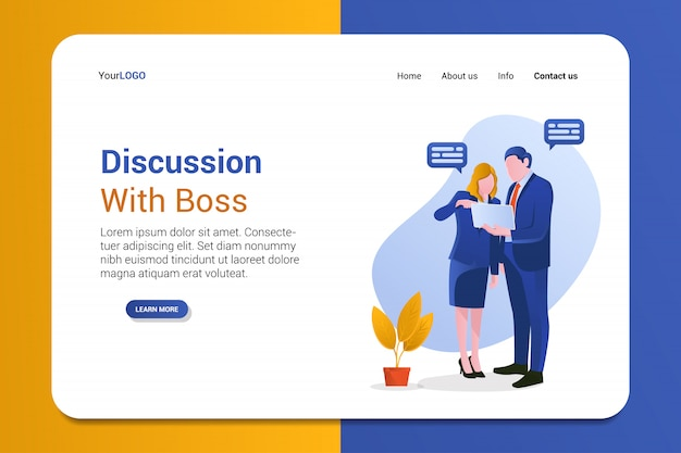 Diskussion mit boss landing page template Premium Vektoren