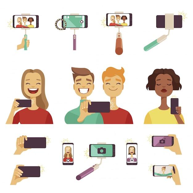 Diverse tools und zubehör für selfies Premium Vektoren