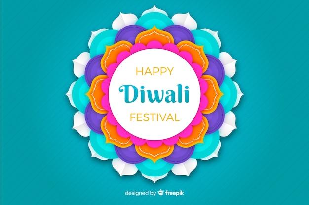 Diwali blauer hintergrund in der papierart Kostenlosen Vektoren