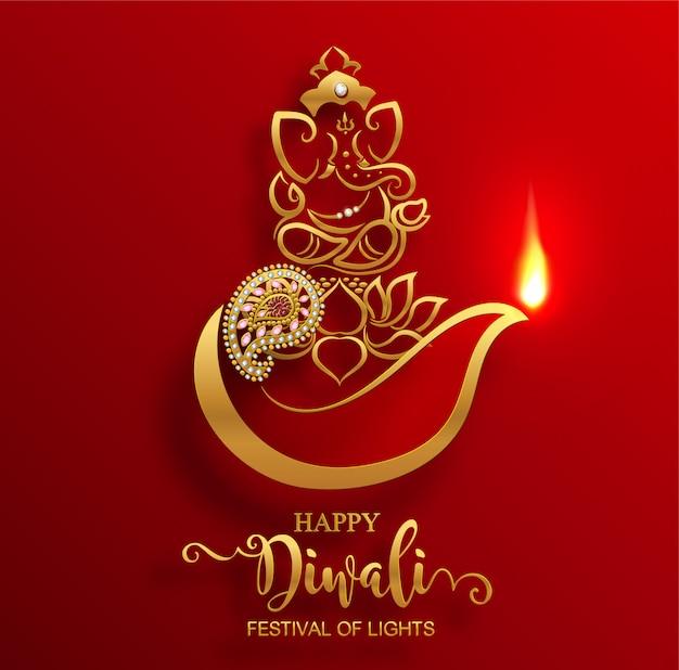 Diwali, deepavali oder dipavali das festival der lichter indien mit gold diya gemustert und kristallen auf papierfarbe hintergrund. Premium Vektoren