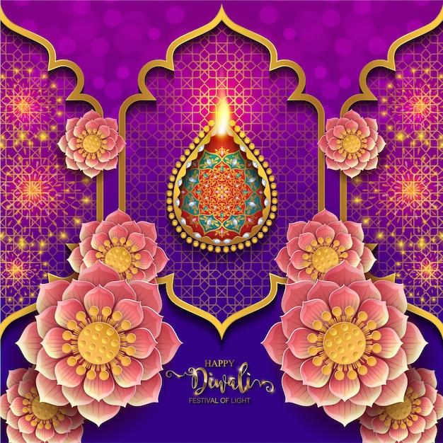 Diwali, deepavali oder dipavali, das festival der lichter indiens mit gemustertem golddiya und kristallen auf papier Premium Vektoren
