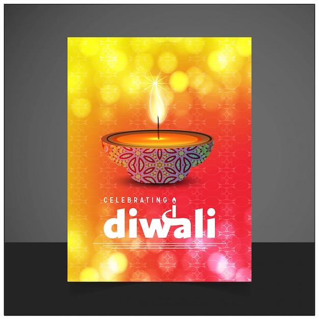 Diwali-design mit hellem hintergrund und typografievektor Kostenlosen Vektoren