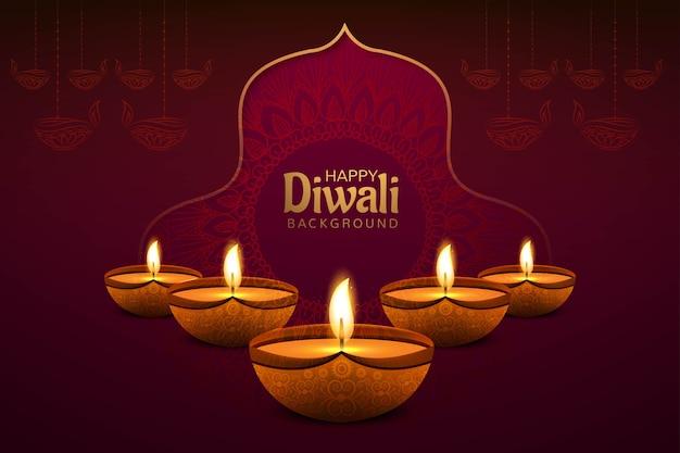 Diwali festival grußkarte mit diwali diya öllampe hintergrund Kostenlosen Vektoren