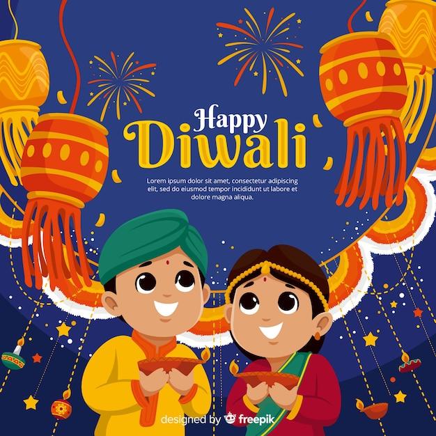 Diwali-hintergrund im flachen design Premium Vektoren
