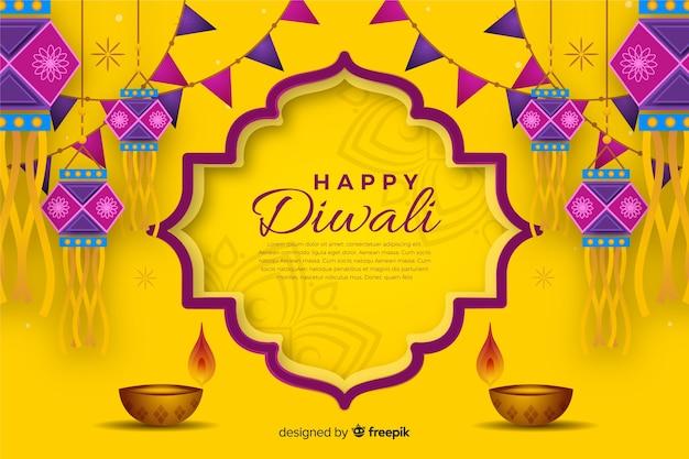 Diwali-hintergrund in der hand gezeichnet Kostenlosen Vektoren