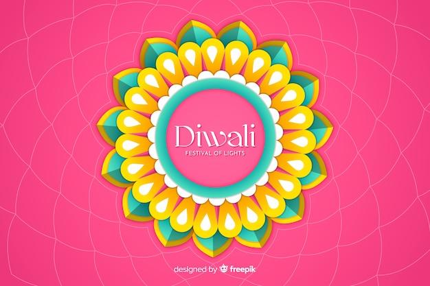 Diwali-hintergrund in der papierart auf rosa hintergrund Kostenlosen Vektoren