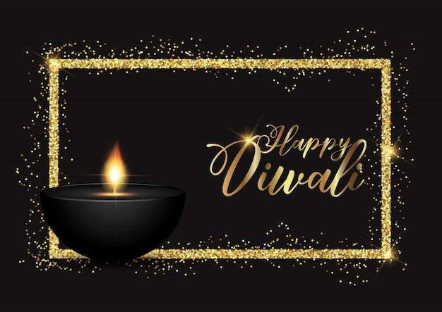 Diwali hintergrund mit gold glitzernden grenze Kostenlosen Vektoren