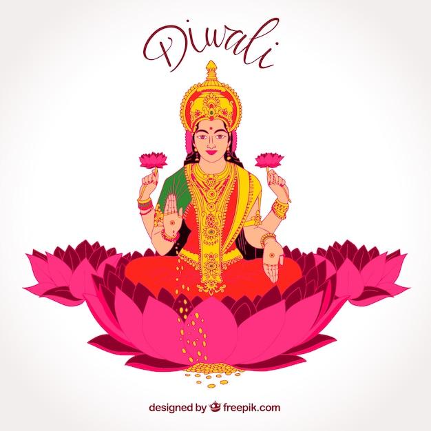 Diwali hintergrund mit hand gezeichneten göttin Kostenlosen Vektoren