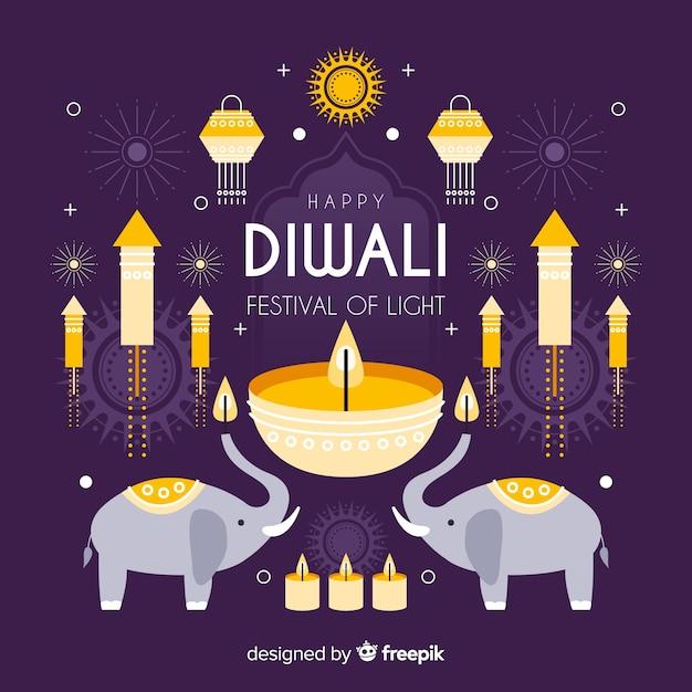 Diwali-konzept mit flachem designhintergrund Kostenlosen Vektoren