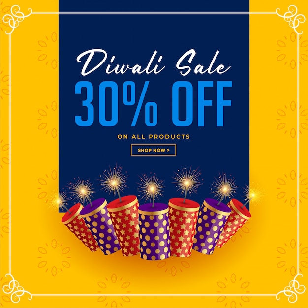 Diwali verkaufs- und angebotcracker-feierschablone Kostenlosen Vektoren