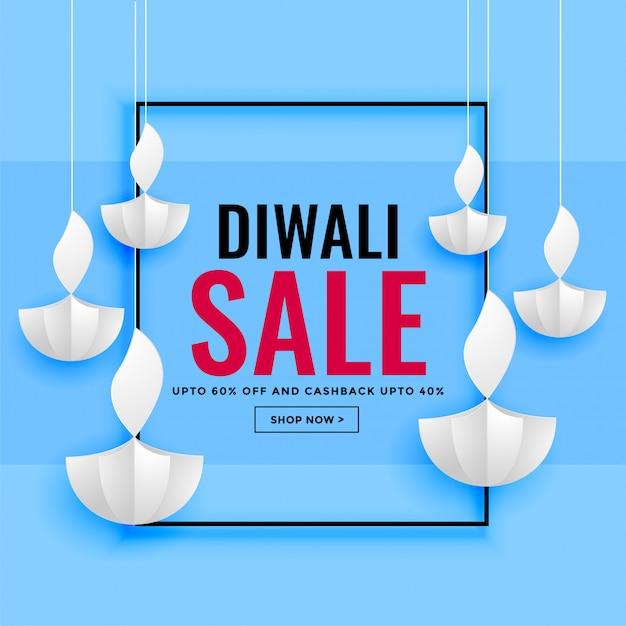 Diwali-verkaufsbanner mit papierdiyadesign Kostenlosen Vektoren