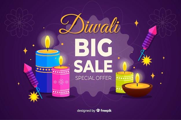Diwali-verkaufskonzept mit flachem designhintergrund Kostenlosen Vektoren