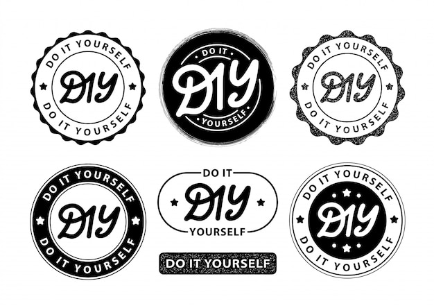 Diy mach es selbst. schriftzug logo-stempel Premium Vektoren