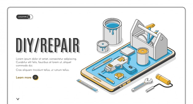 Diy reparatur isometrische banner Kostenlosen Vektoren