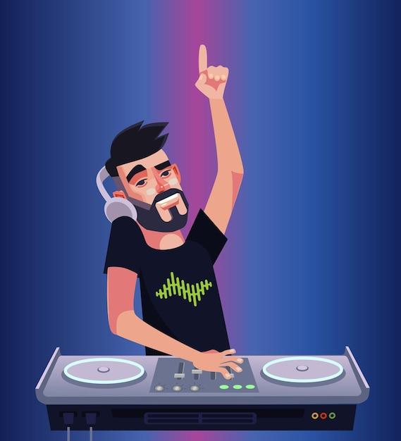 Dj boy man charakter mixer musik machen und spaß haben. nachtclub-disco-bar isolierte karikaturillustration Premium Vektoren