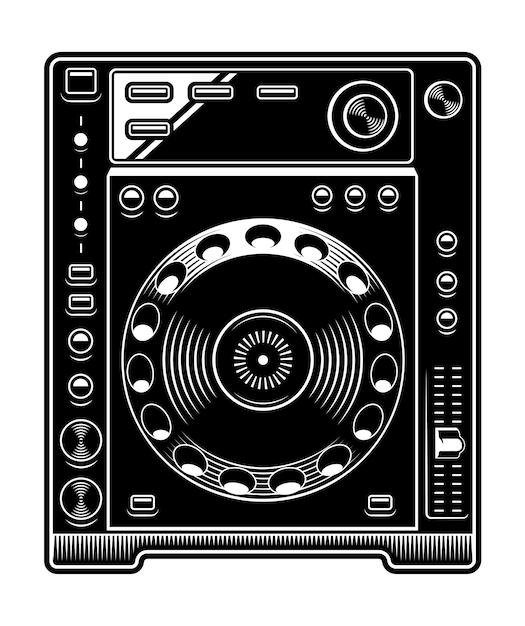 Dj cd player illustration. schwarzweiss auf dem weißen hintergrund. Premium Vektoren