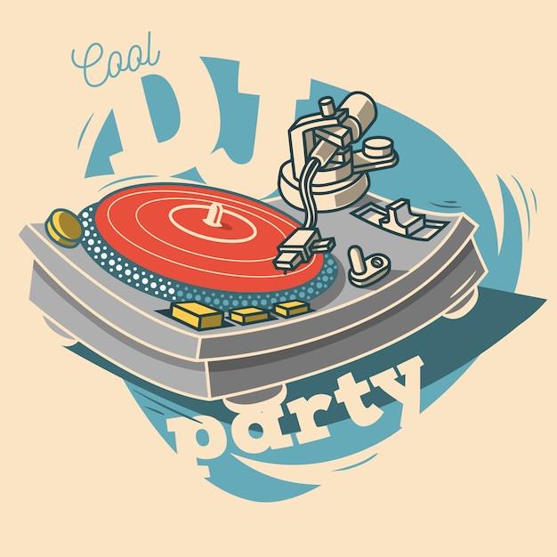 Dj cool party lustiges plakatdesign mit schallplatte und einem gramop Premium Vektoren
