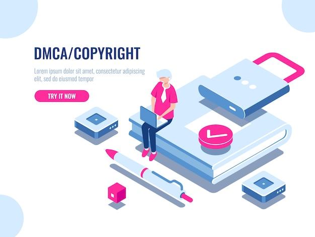 Dmca-daten copyright isometrische ikone, inhaltssicherheit, buch mit schloss, elektronischer digitaler vertrag Kostenlosen Vektoren
