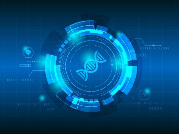 Dna-abstrakter technologiehintergrund Premium Vektoren