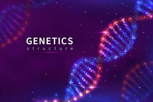 Dna hintergrund. genetikstruktur, biologietechnologie. 3d menschliches genom dna modellplakat Premium Vektoren