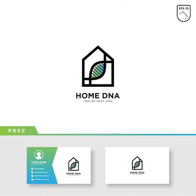 Dna home logo vector- und visitenkarteschablone Premium Vektoren