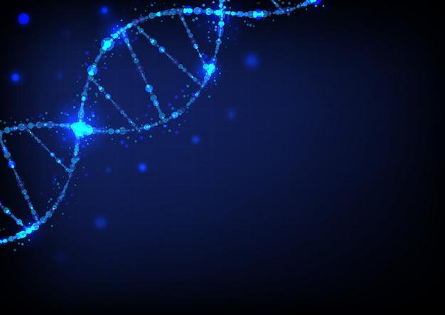 Dna-sciencefictionwissenschaftszusammenfassungs-hintergrundvektor Premium Vektoren