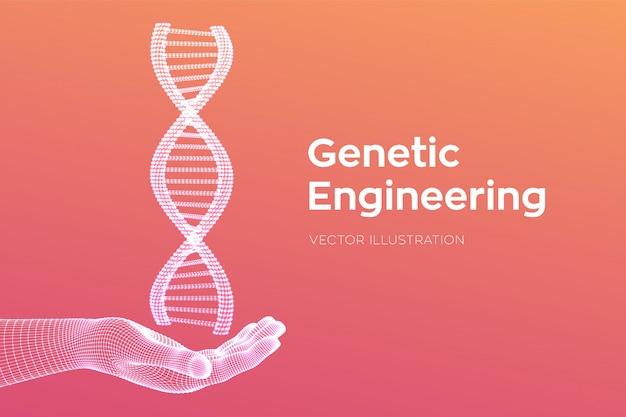 Dna-sequenz in der hand. drahtgitter-dna-code-moleküle strukturieren das netz. Kostenlosen Vektoren