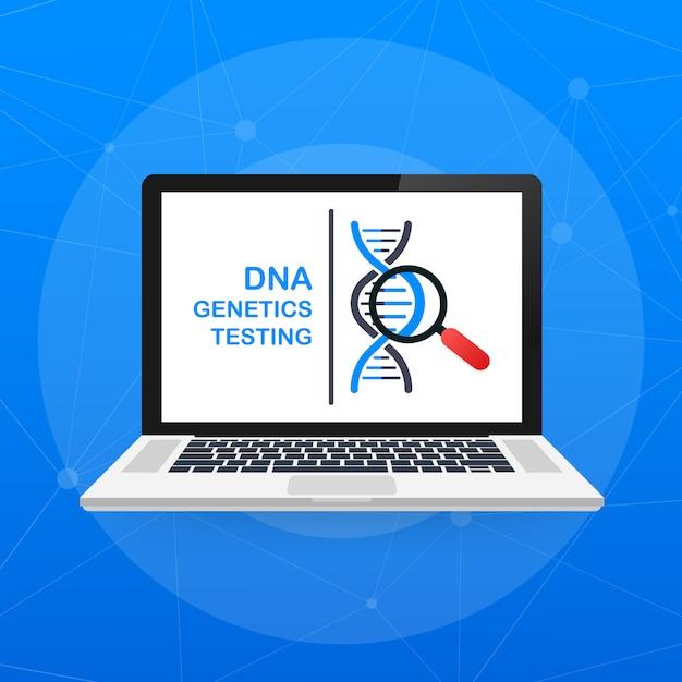 Dna-test, genetisches diagnosekonzept. gentechnisches konzept. Premium Vektoren