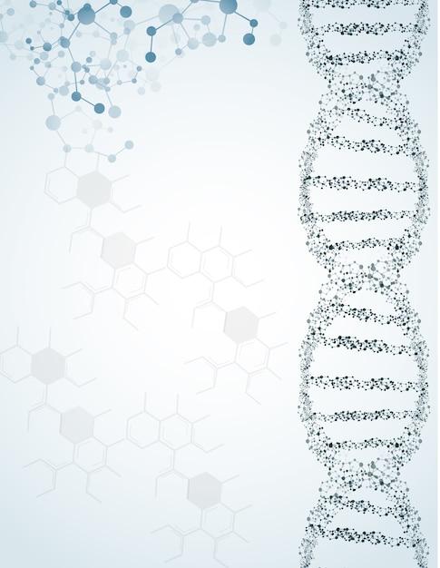 Dna und moleküle auf lokalisiertem hintergrund Premium Vektoren