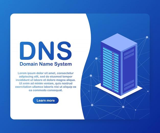 Dns domain name system server. Premium Vektoren